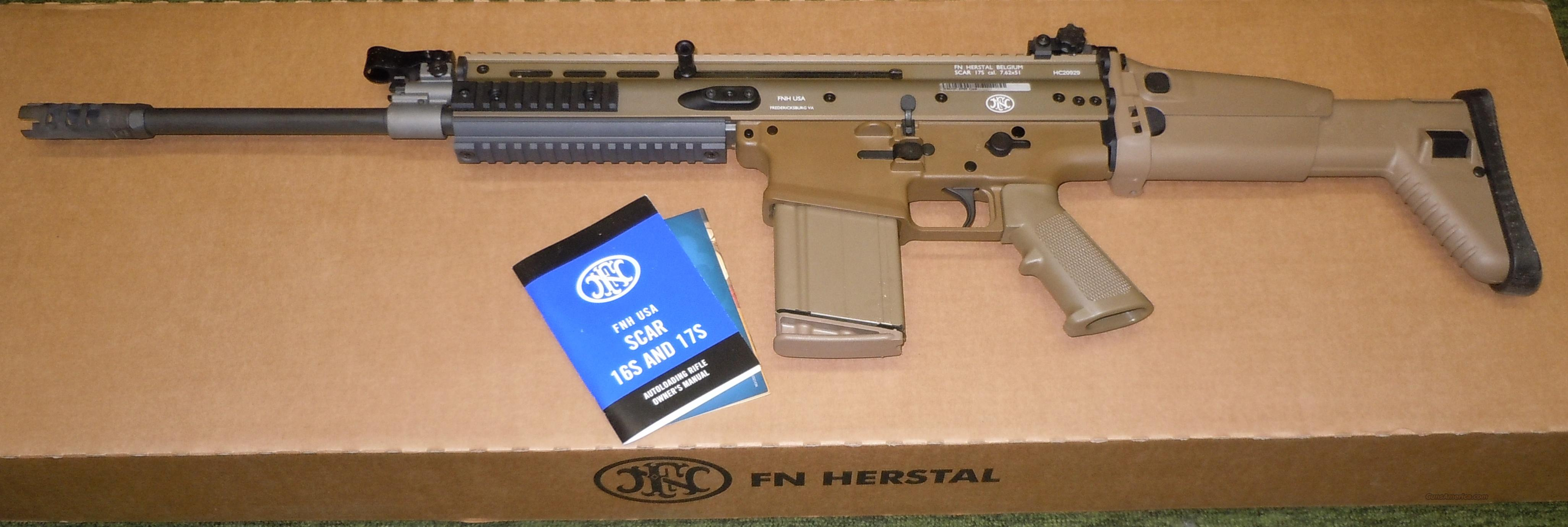 FNH SCAR 17S FDE 7.62x51 NATO (308WIN) DARK EARTH RIFLE  Guns > Rifles > FNH - Fabrique Nationale (FN) Rifles > Semi-auto > Other
