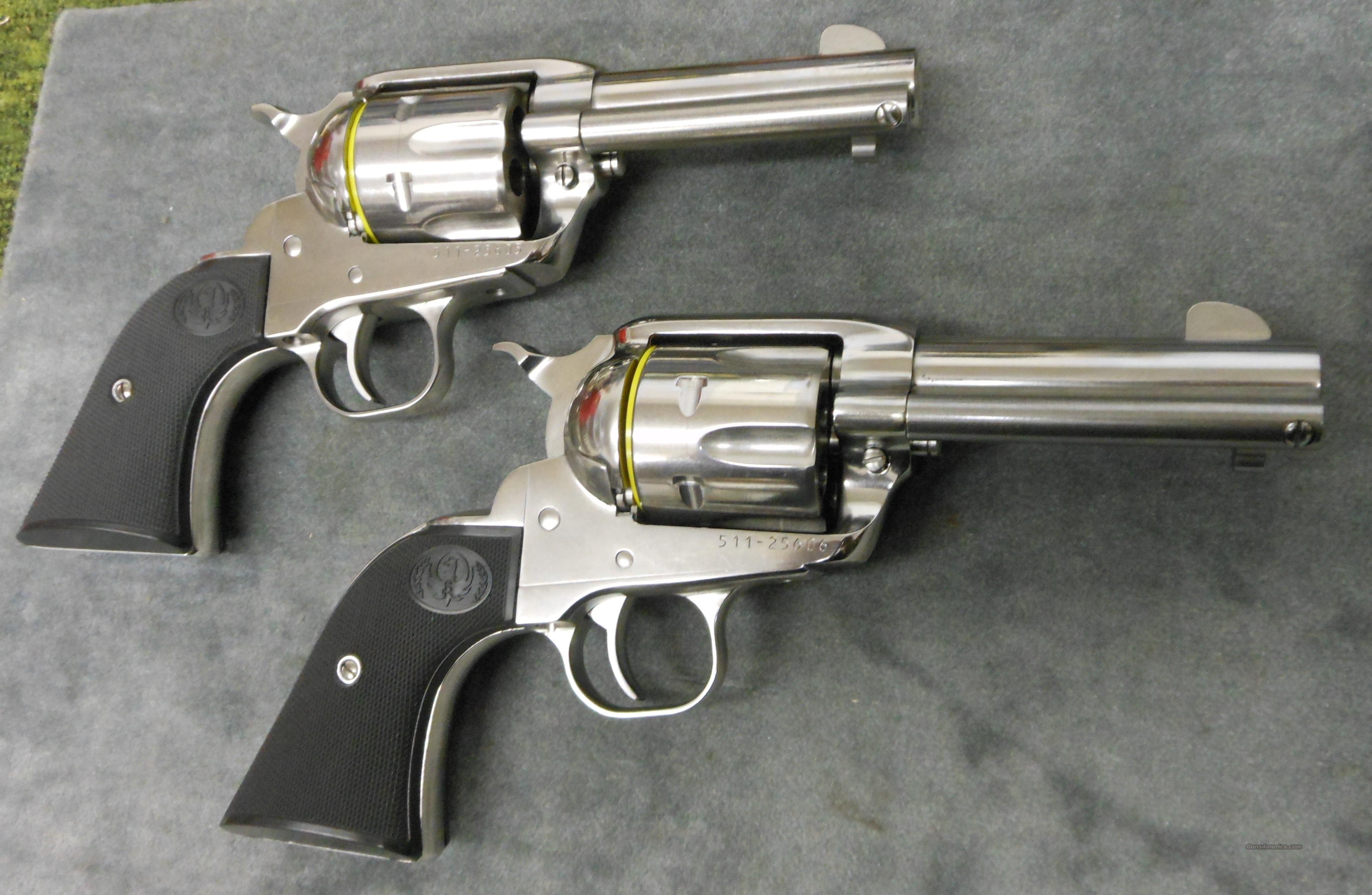 "PAIR OF RUGER NEW VAQUERO MONTADO 3.75"" SAA 357 MAGNUM REVOLVERS *SEQUENTIAL SERIAL NUMBERS* (KNV-353, 05126)  Guns > Pistols > Ruger Single Action Revolvers > Cowboy Action"