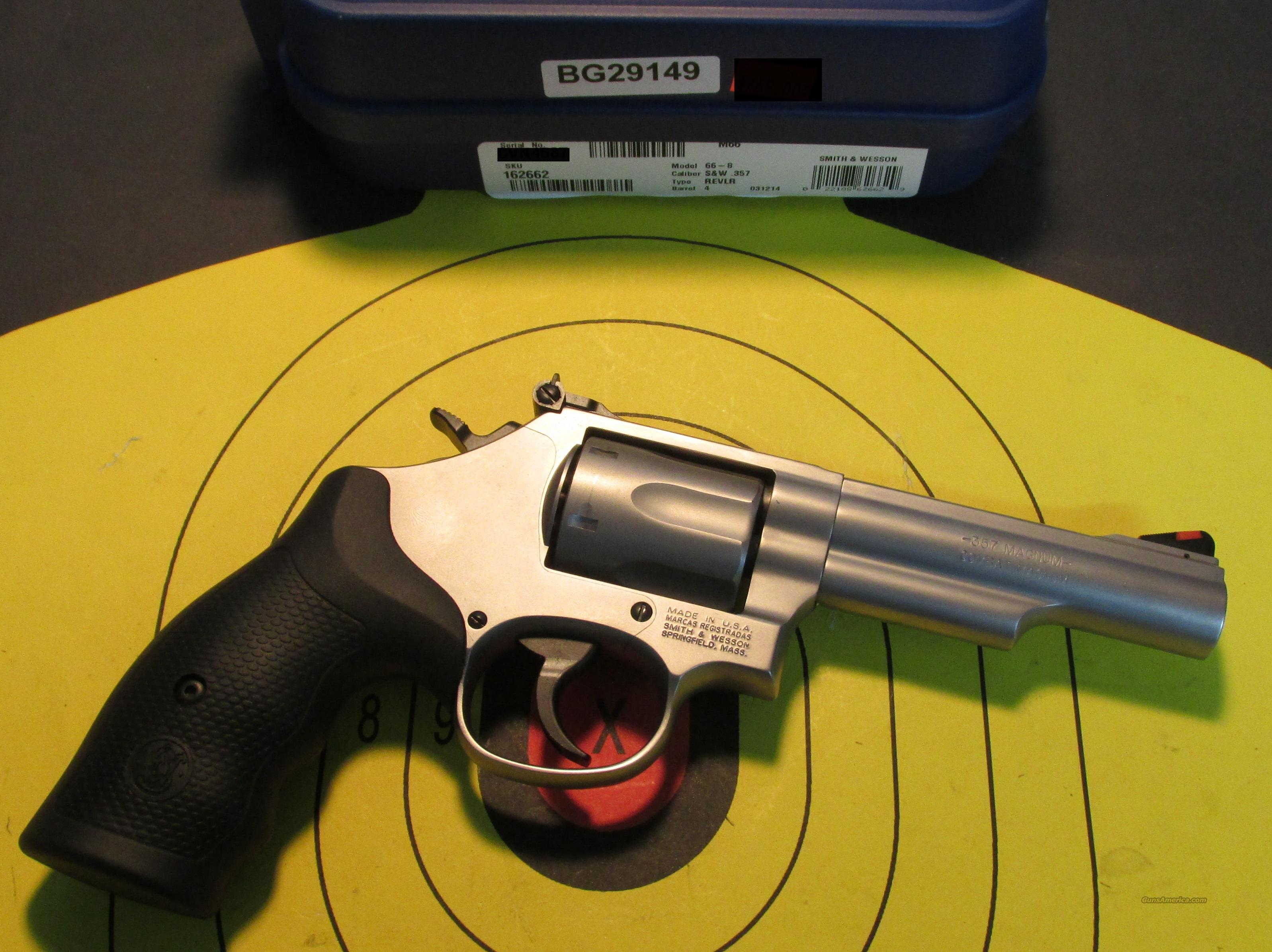 "SMITH & WESSON MODEL 66-8 MATTE STAINLESS 4"" 357 MAGNUM (162662)  Guns > Pistols > Smith & Wesson Revolvers > Full Frame Revolver"