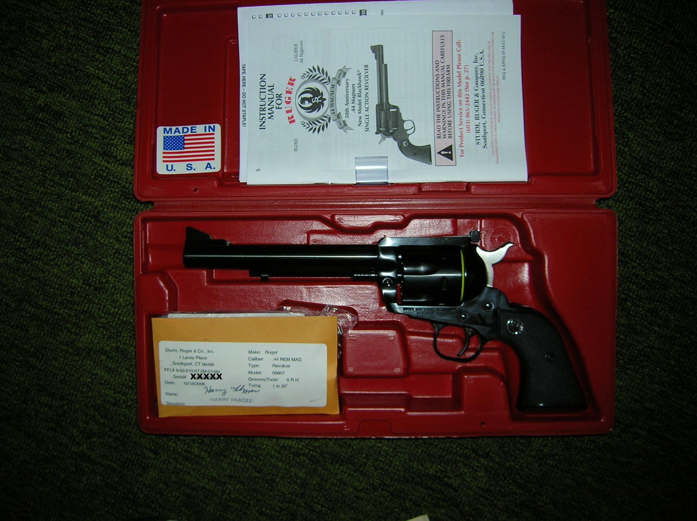 RUGER 50TH ANNIVERSARY BLACKHAWK 44 MAG REVOLVER  Guns > Pistols > Ruger Single Action Revolvers > Blackhawk Type