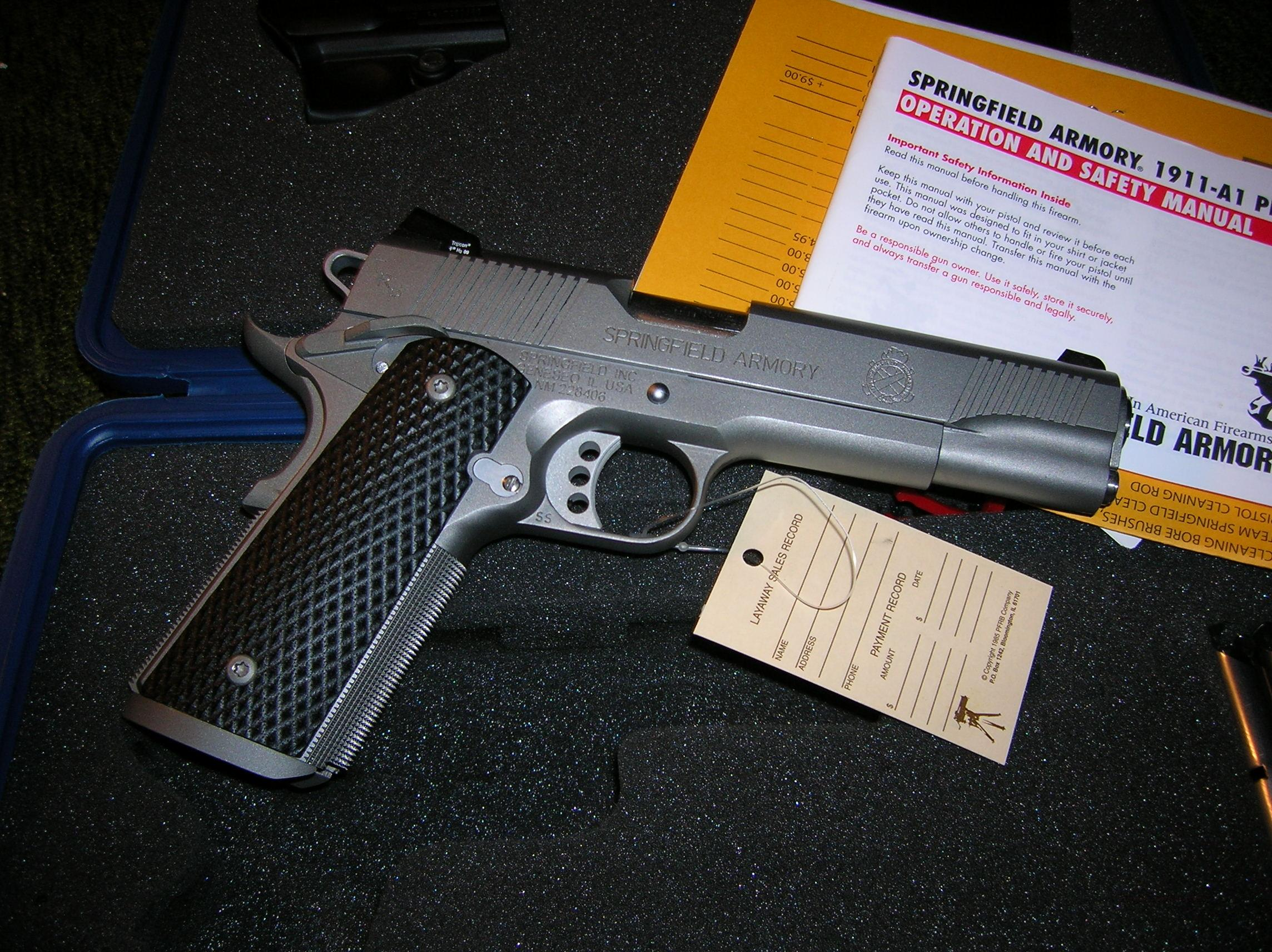 SPRINGFIELD TRP 45ACP 1911-A1 TACTICAL PISTOL STAINLESS LOADED WITH NIGHT SIGHTS (PC9107LP)  Guns > Pistols > Springfield Armory Pistols > 1911 Type