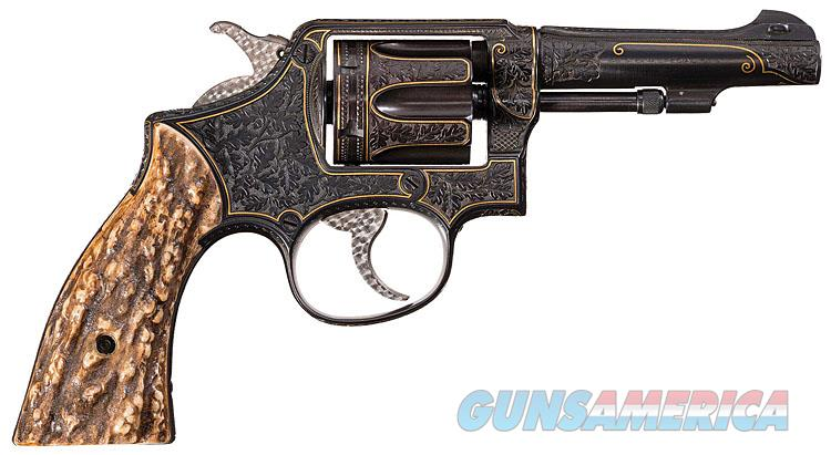 S&W WWII ERA VICTORY MODEL REVOLVER IN .38 S&W SPECIAL FULLY ENGRAVED WITH GOLD WORK BY KURT JAEGER, MASTER ENGRAVER!!  Guns > Pistols > Smith & Wesson Revolvers > Pre-1945