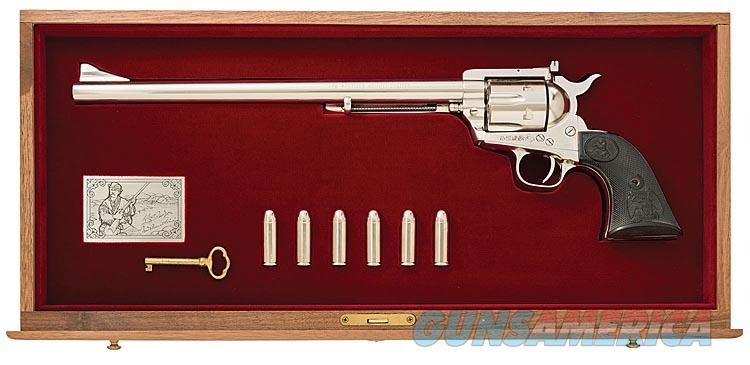 COLT NEW FRONTIER SAA NED BUNTLINE COMMERATIVE .45 LONG COLT & 12 INCH BARREL. COMPLETE WITH BEAUTIFUL WALNUT CASE AND ALL SHIPPING BOXES.  Guns > Pistols > Colt Single Action Revolvers - 3rd Gen.