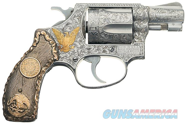 S&W MODEL 60 STAINLESS STEEL CUSTOM ENGRAVED WITH STERLING SILVER & 14K GOLD GRIPS AND 14K GOLD ACCENTS. FABULOUS HEIRLOOM PIECE!! ACCENTS.   Guns > Pistols > Smith & Wesson Revolvers > Pocket Pistols