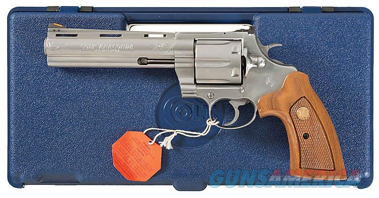ENGRAVED COLT ANACONDA IN .44 MAGNUM, STAINLESS STEEL AND UNCOMMONLY ENCOUNTERED 6 INCH VENT RIBBED BARREL. ENGRAVED!!  Guns > Pistols > Colt Double Action Revolvers- Modern