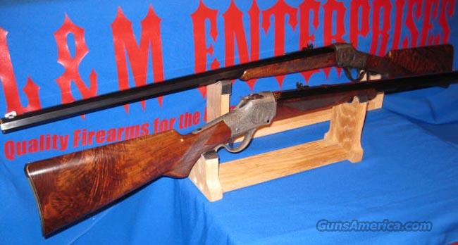 MAGNIFICENT SEQUENTIALLY SERIALIZED PAIR OF WINCHESTER M1885 SINGLE SHOT HIGH WALL SPECIAL SPORTING RIFLES MADE TO ORDER BY BALLARD RIFLE & CARTRIDGE COMPANY FOR BUFFALO BILL HISTORICAL CENTER IN CODY WYOMING !!!  Guns > Rifles > Ballard Rifle > Antique Replica