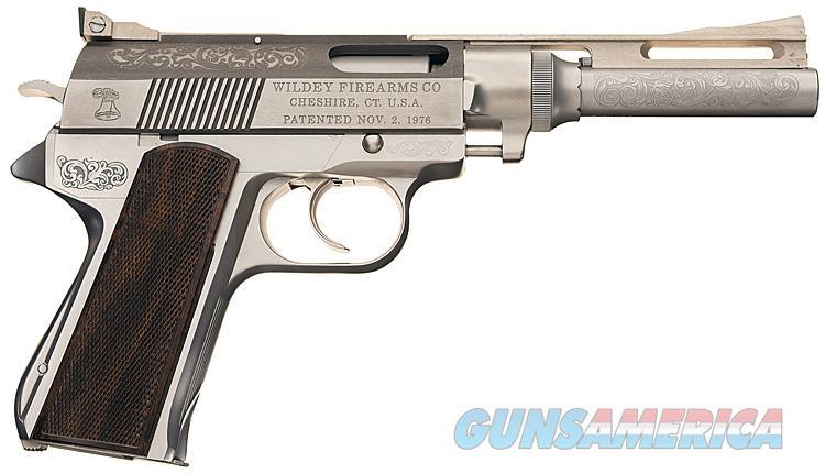 WILDEY PRESENTATION GRADE COMMEMORATIVE AUTO-PISTOL IN .45 WIN MAG. NEW IN OAK PRESENTATION CASE WITH 1982 OWNER'S MANUAL & PAPERS  Guns > Pistols > Wildey Pistols