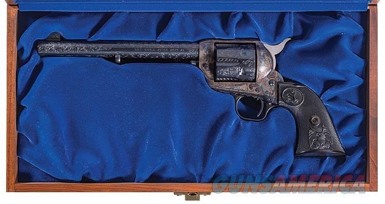 COLT SAA IN .45 COLT WITH 7 1/2 INCH BARREL. COLT BLUE FINISH. FACTORY LEVEL D FULL COVERAGE ENGRAVING. CASED. NEW   Guns > Pistols > Colt Single Action Revolvers - 3rd Gen.