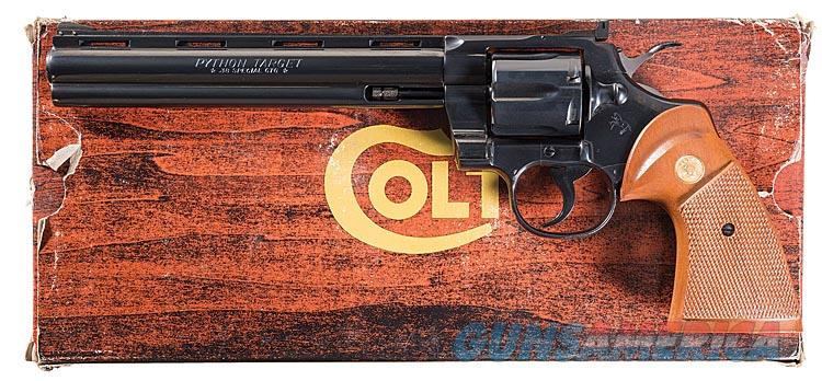 COLT PYTHON TARGET .38 SPECIAL IN COLT BLUE WITH HIGHLY DESIRABLE 8 INCH VENT RIBBED BARREL. COLT WOOD GRAINED BOX.  Guns > Pistols > Colt Double Action Revolvers- Modern