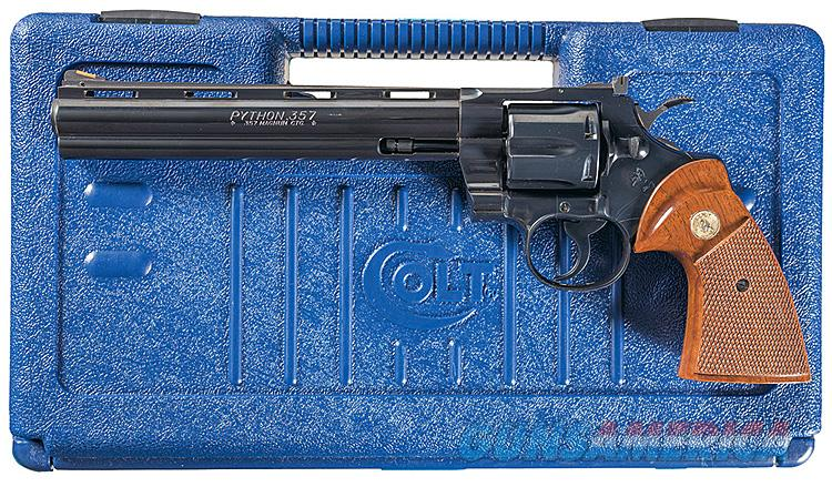 COLT PYTHON IN BLUE WITH 8 INCH BARREL & BLUE COLT CASE AND PAPERS. MANUFACTURED AFTER 1991.  Guns > Pistols > Colt Double Action Revolvers- Modern