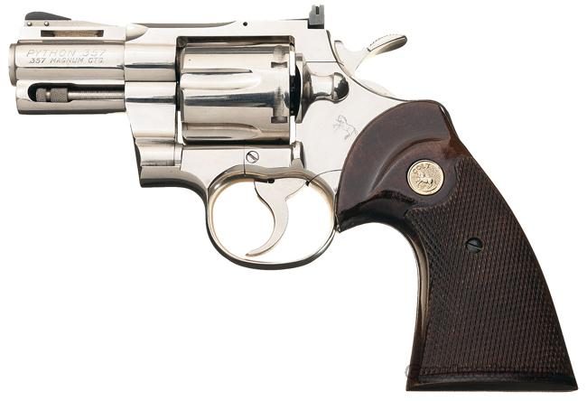 VERY RARE COLT PYTHON WITH 2 1/2 INCH VENT RIBBED BARREL IN NICKEL FINISH!!  Guns > Pistols > Colt Double Action Revolvers- Modern