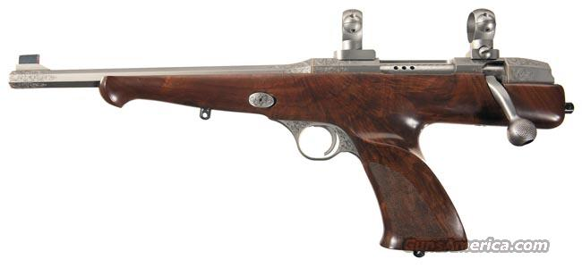 RARE & WONDERFUL WICHITA ARMS CLASSIC SILHOUETTE SINGLE SHOT PISTOL IN .223 REM WITH SILVER FINISH AND GORGEOUS ENGRAVING AND EXTRA FANCY WALNUT STOCK!!  Guns > Pistols > Custom Pistols > Other