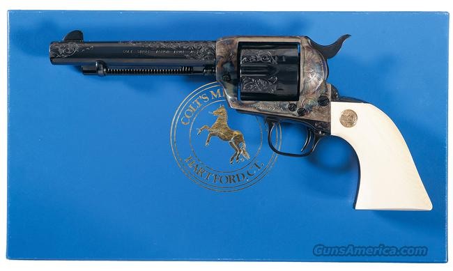BEAUTIFUL 3RD GENERATION COLT SAA CUSTOM SHOP ENGRAVED, CLASS B WITH IVORY GRIPS. 51/2 INCH BARREL. NIB.  Guns > Pistols > Colt Single Action Revolvers - 3rd Gen.