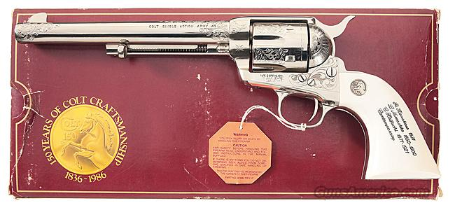 BEAUTIFUL COLT SAA 3RD GEN 150TH ANNIVERSARY ENGRAVING SAMPLER WITH COLT FACTORY ENGRAVING, NICKEL FINISH AND IVORY GRIPS!!  Guns > Pistols > Colt Single Action Revolvers - 3rd Gen.