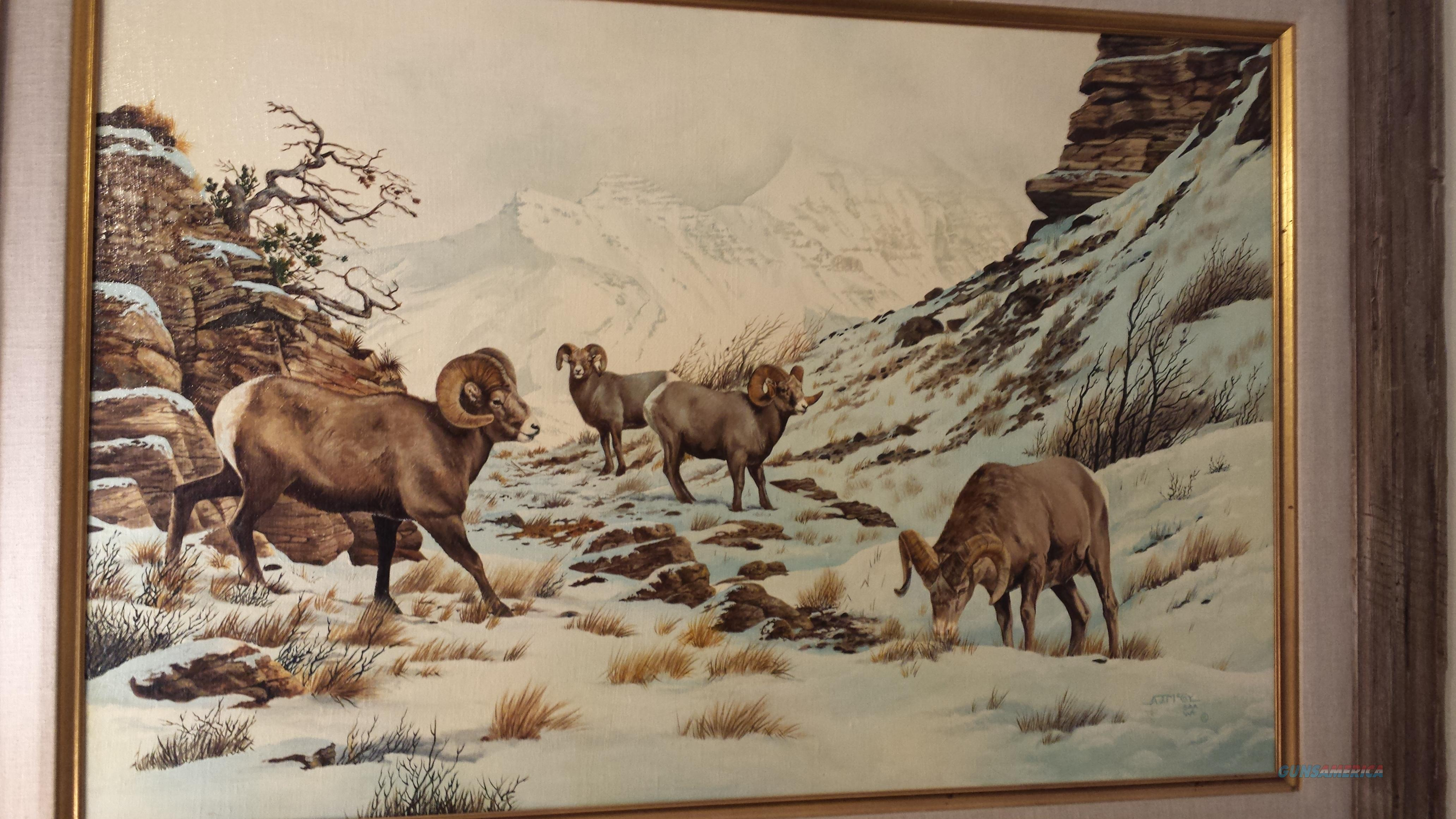 Original Oil Painting by AJ McCoy - Bighorn Sheep in a Snowy Mountain Pass  Non-Guns > Artwork