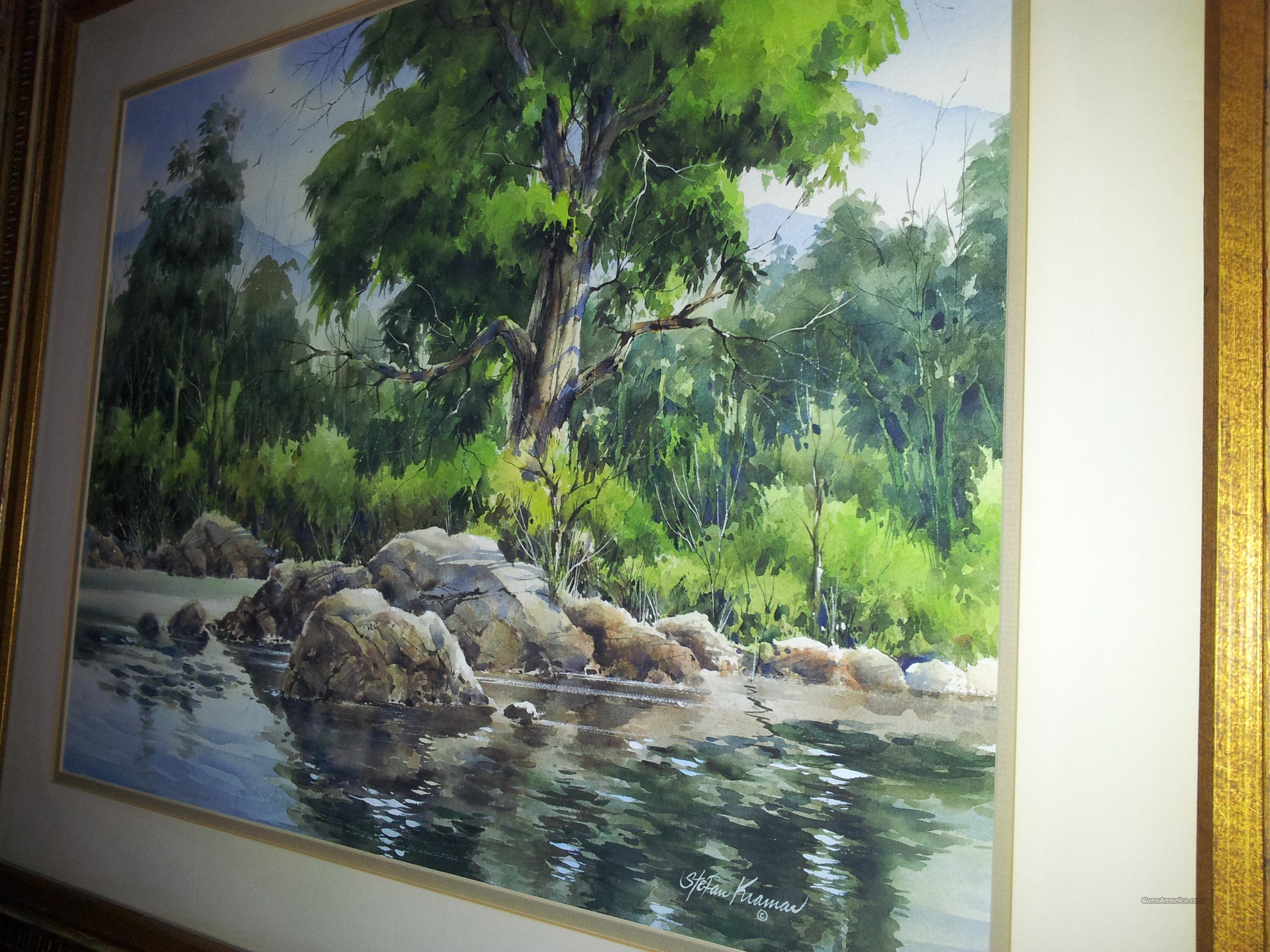 A quiet Western Trout Stream slowly flowing by the Cottonwood lined banks.  Non-Guns > Artwork