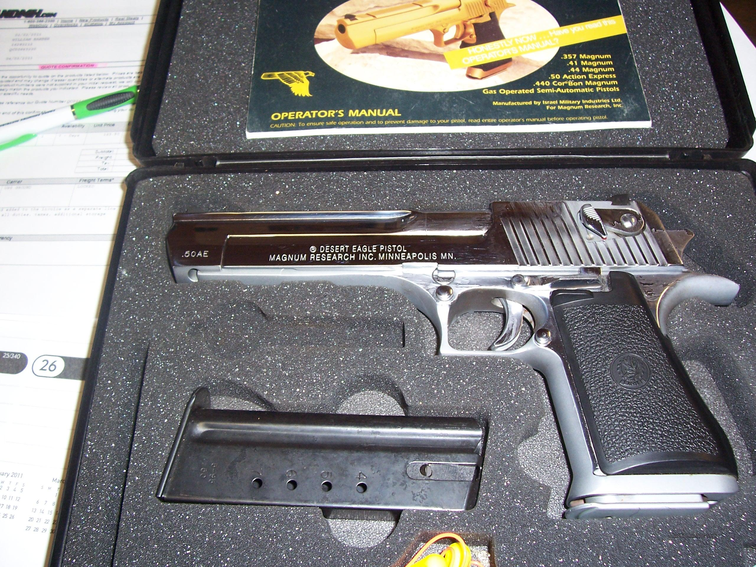 Magnum Research Desert eagle XIX chrome nickel 50ae  Guns > Pistols > Magnum Research Pistols