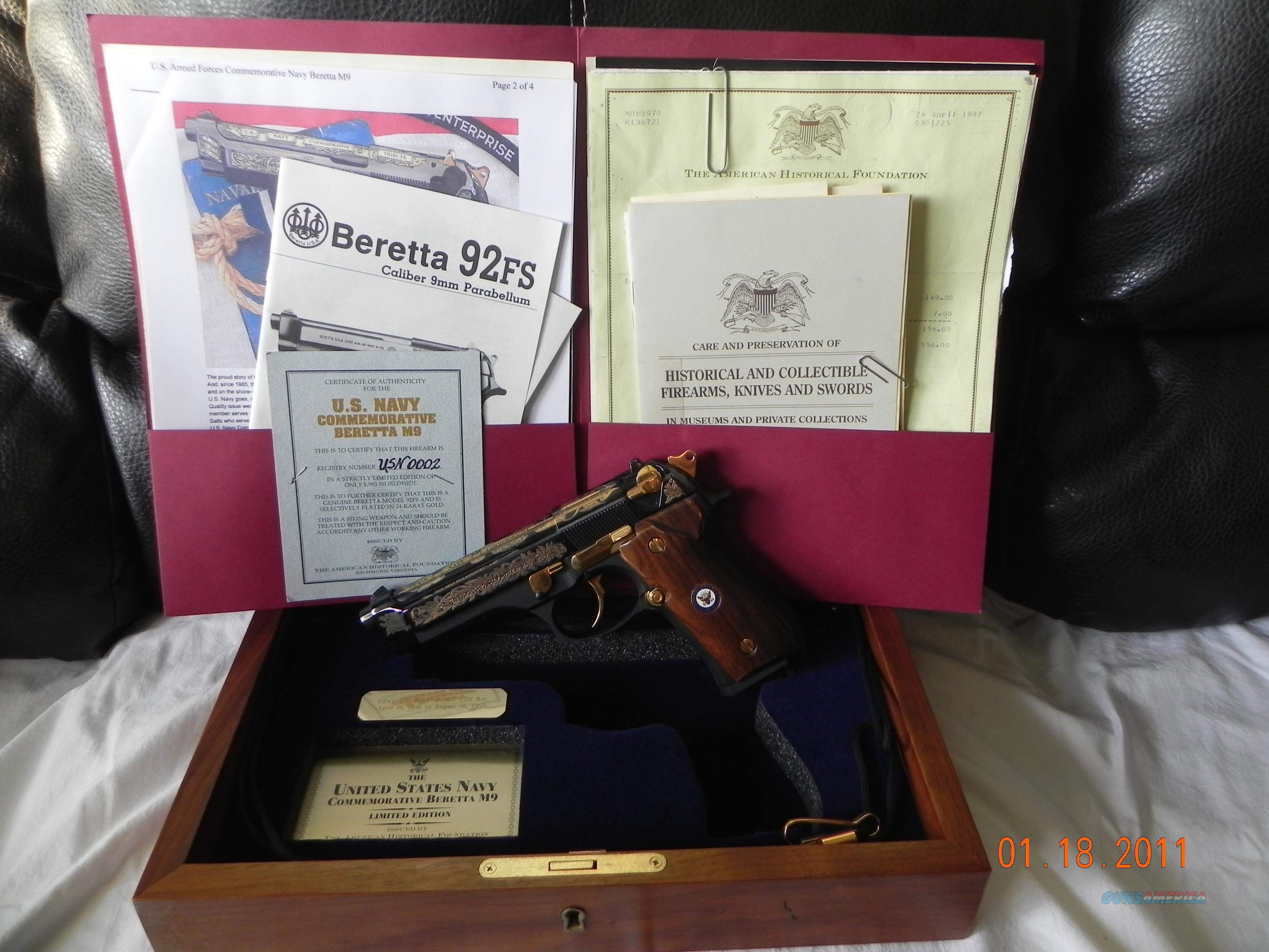 The Unites States Navy Commemorative Beretta M9  Guns > Pistols > Collectible Pistols