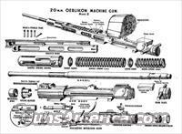 WWII 20mm Oerlikon anti-aircraft cannon parts kit with demilled reciever  Guns > Rifles > Cannons > Cannons & Field Artilery
