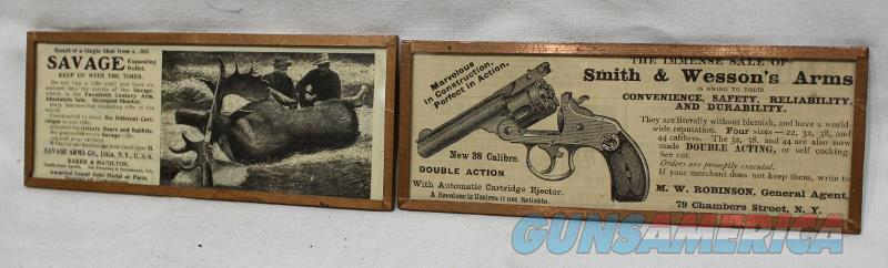 Savage S&W classified ad framed 1883 Harvey wallhangers  Non-Guns > Artwork