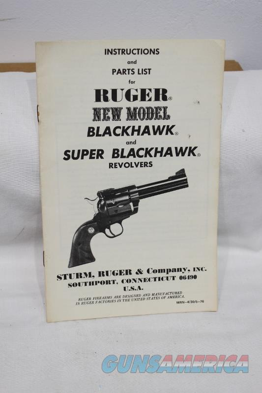 Ruger new model blackhawk and super blackhawk 1976 manual original  Non-Guns > Manuals - Print