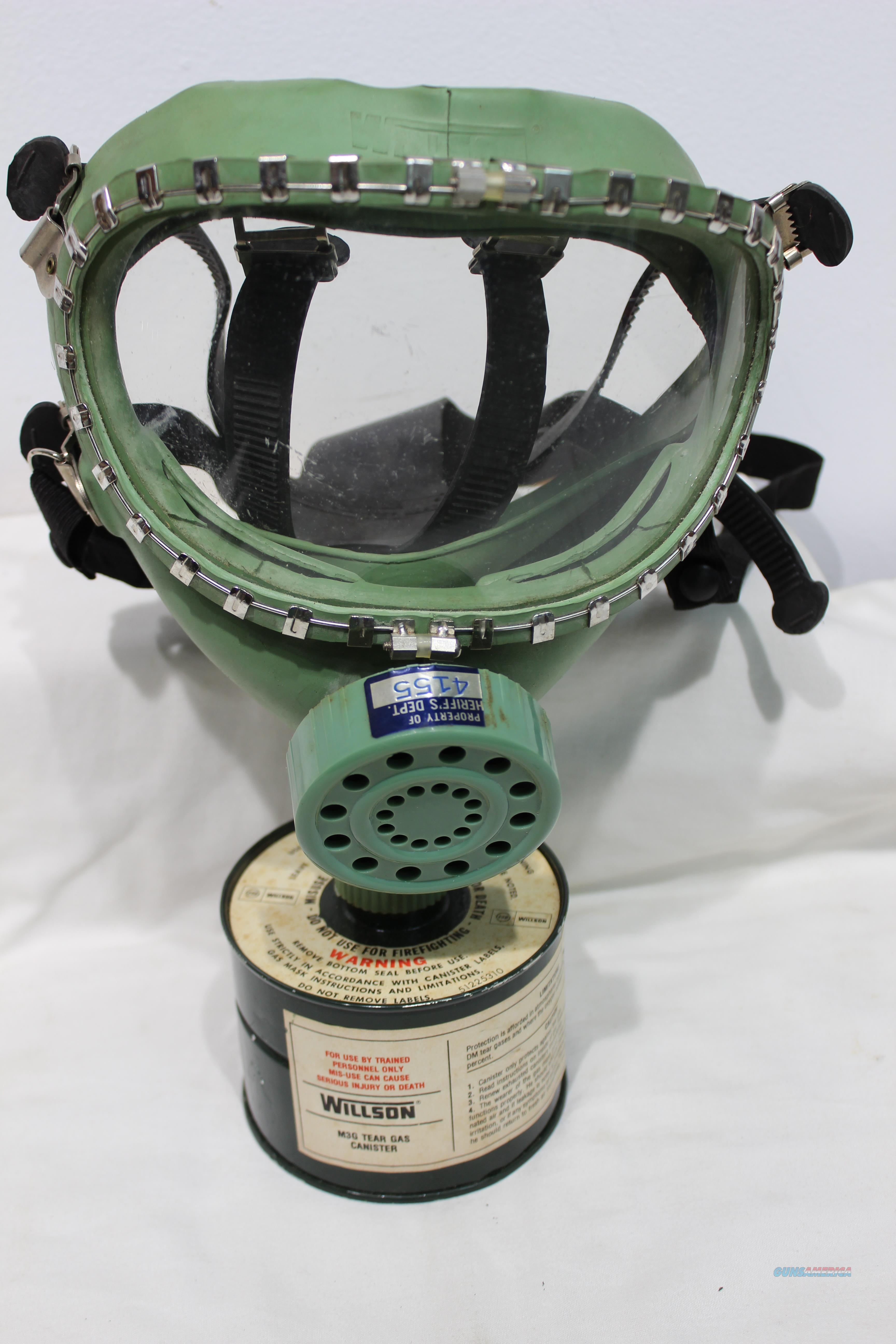 Wilson tear gas mask canister style  used  Non-Guns > Gas Masks
