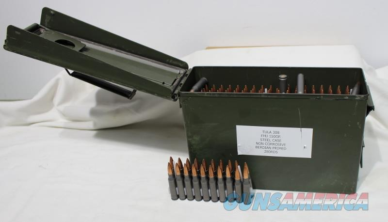 Tula 308 150gr fmj steel case nc metal ammo can new 280rds  Non-Guns > Ammunition
