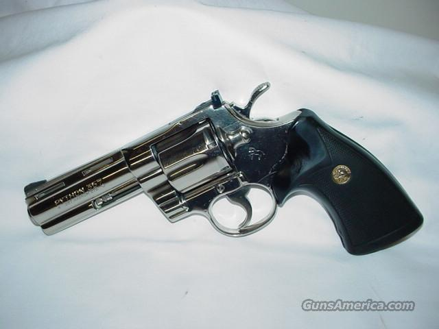 "Colt Python 4 "" Nickel  Guns > Pistols > Colt Double Action Revolvers- Modern"