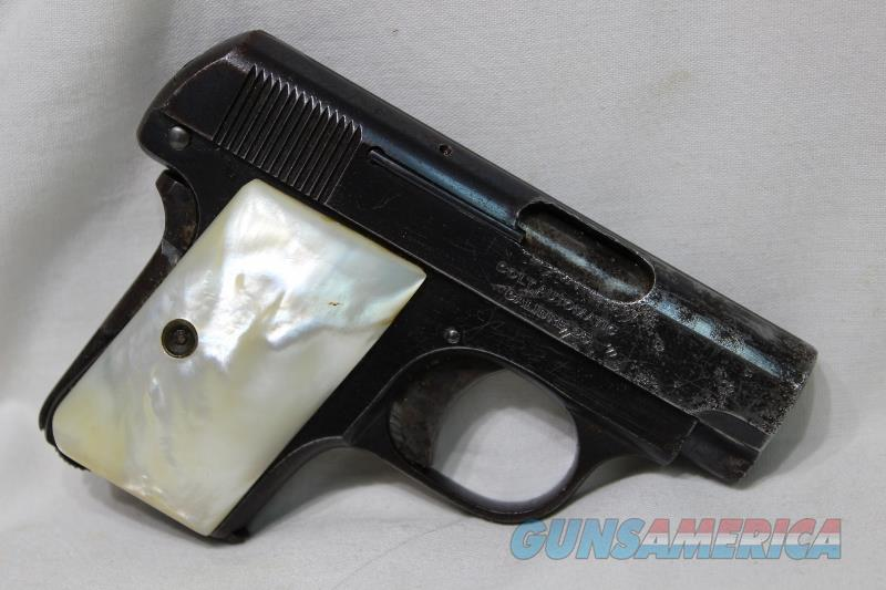 Colt 1908 vest Pocket hammerless 25acp Pearl grips USED made 1920  Guns > Pistols > Colt Automatic Pistols (.25, .32, & .380 cal)