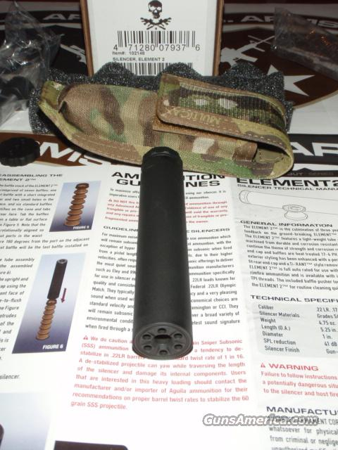 AAC ELEMENT2™ Rimfire Silencer for .22 WMR, .22LR, .17HMR, etc. w/Soft Case - New  Guns > Rifles > Class 3 Rifles > Class 3 Suppressors