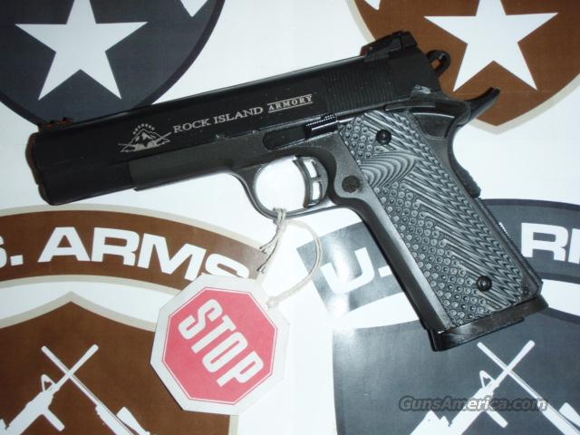 "ROCK ISLAND ARMORY M1911-A1 .45 TACTICAL II Full-size by Armscor  .45 ACP, 5"" Brl, 1911 Custm G10 VZ Grps®, Skltnzd Trgr, 2-dot adj Rear LPA Sight & Tru•Glo® HV Frnt Sght, 1-8 Rnd Mag, & Hard Case - New  Guns > Pistols > Armscor Pistols"