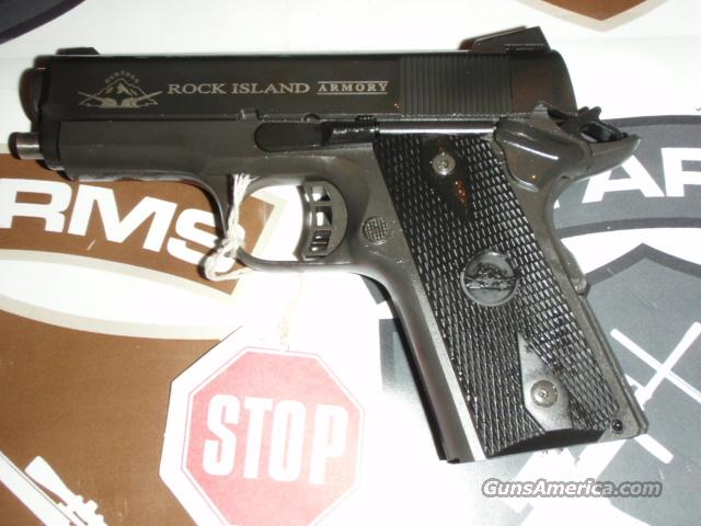 "ROCK ISLAND ARMORY M1911-A1 CS .45 TACTICAL by Armscor  Compact-size 1911, .45 ACP, 3.5"" Brl, Blk Grps, Skltnzd Trgr, Nvk Sghts, 1-7 Rnd Mag, Lock, & Hard Case - New  Guns > Pistols > Armscor Pistols"