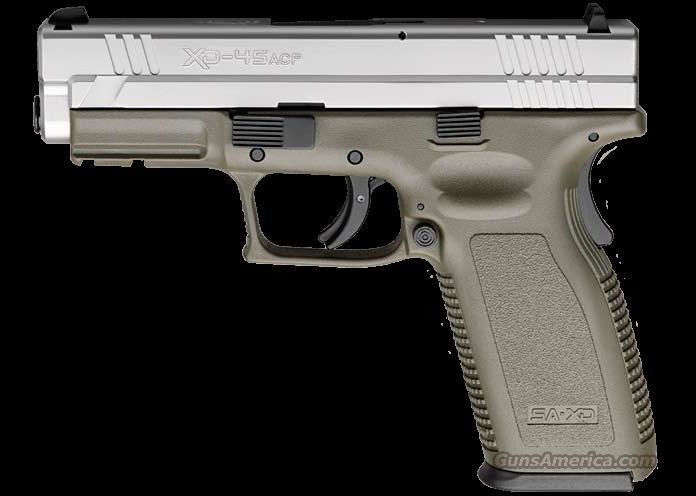 "New Springfield Armory XD-45ACP SS/ODG 4"" Brl, 2ea 13 Round Mags, Hlstr, Dbl Mag Hlstr, Spd Ldr, Br Brsh, FC, Lock, and Hard Case  Guns > Pistols > Springfield Armory Pistols > XD (eXtreme Duty)"