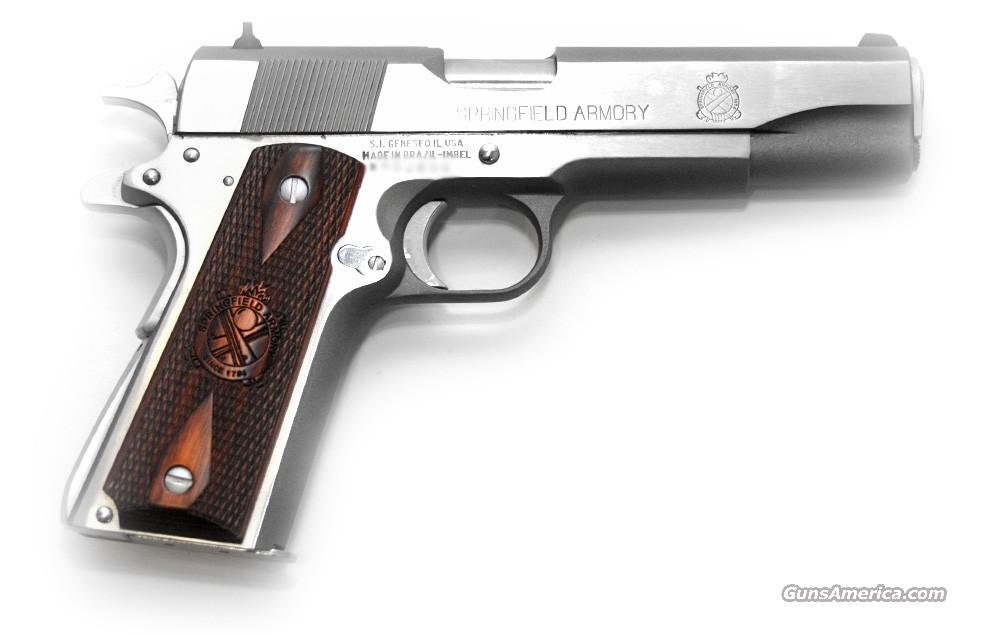 "Springfield Armory 1911-A1 Mil-Spec Full Size,  Stainless 5"" BBL, w/ Holster, 2-7 Rnd Mags, Mag Holster, Extra Grips  Guns > Pistols > Springfield Armory Pistols > 1911 Type"