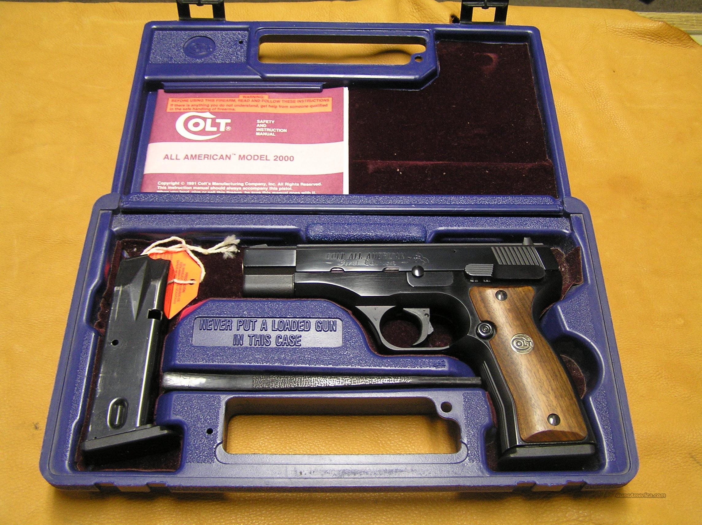 Colt All American Model 2000 9mm First Edition For Sale