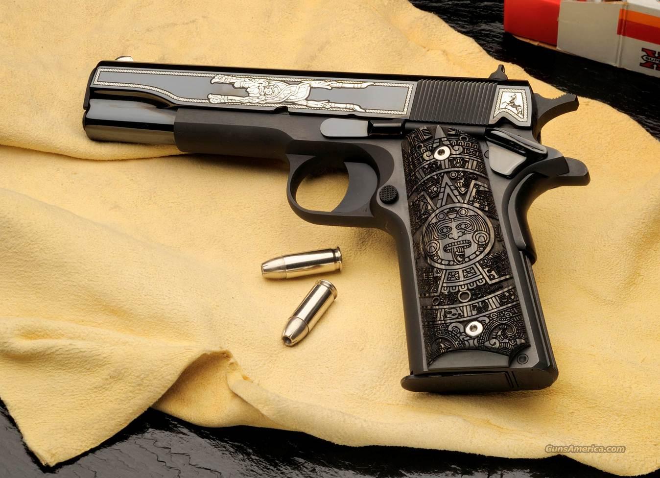 Colt Aztec 38 Super 1911 Engraved For Sale