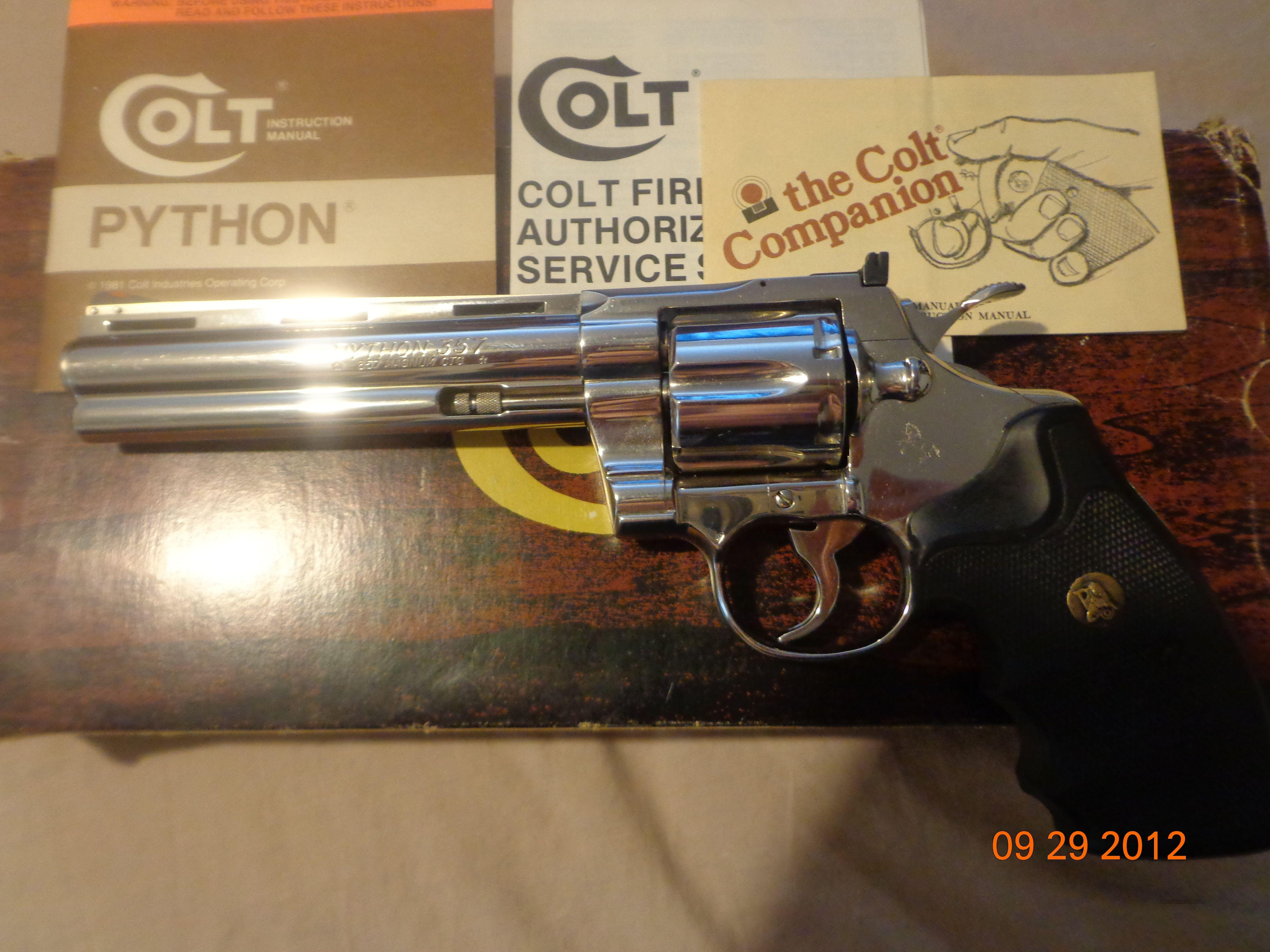 "Colt Python 6"" Nicke  Guns > Pistols > Colt Single Action Revolvers - 3rd Gen."