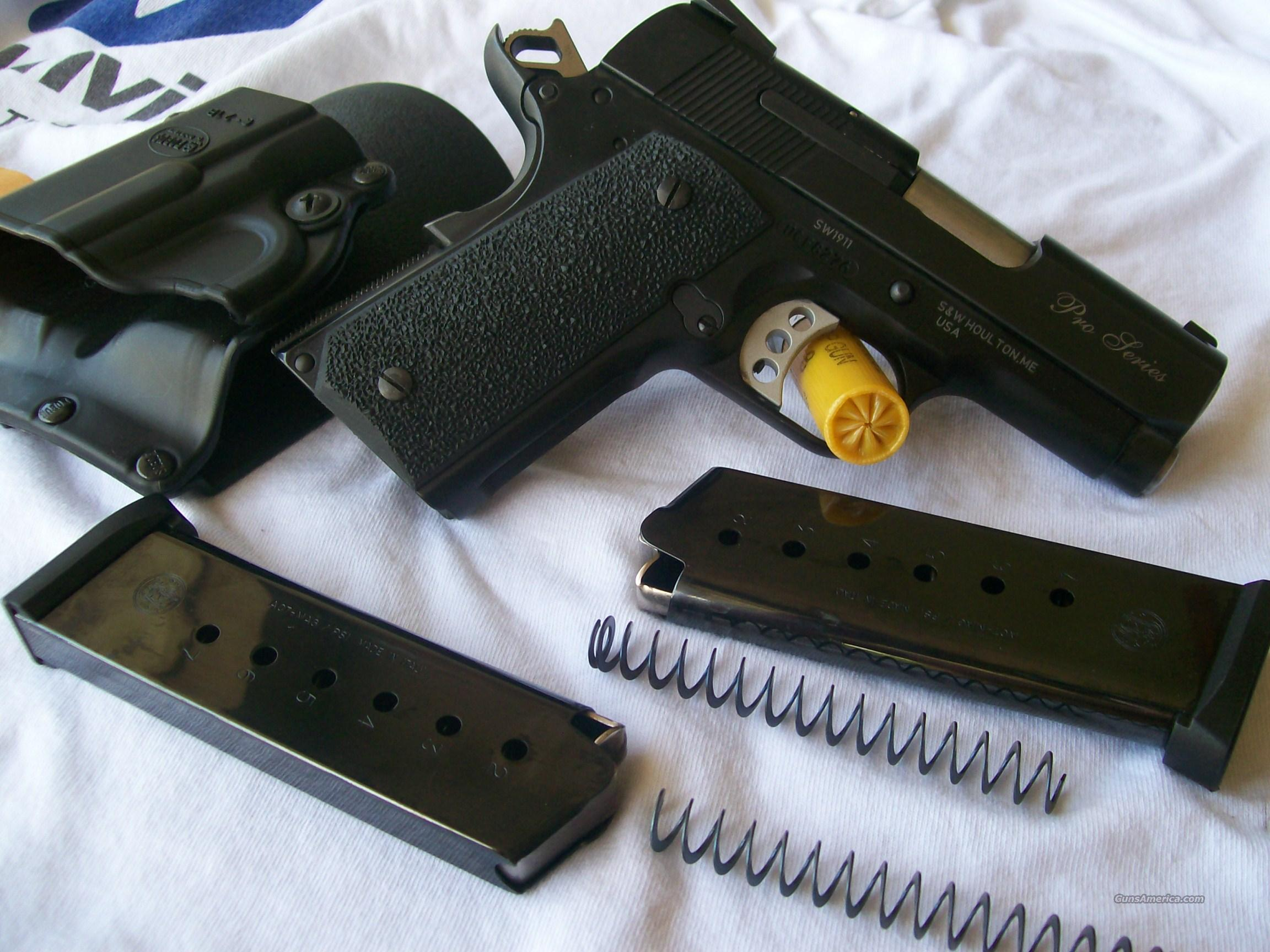 "S&W 1911 Pro Series Sub Compact 3"" with Fobus Paddle Holster  Guns > Pistols > Smith & Wesson Pistols - Autos > Alloy Frame"