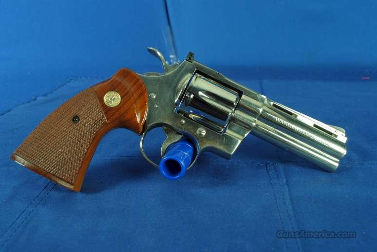 "Colt Python 357 Nickel 4"" GREAT #8781  Guns > Pistols > Colt Double Action Revolvers- Modern"