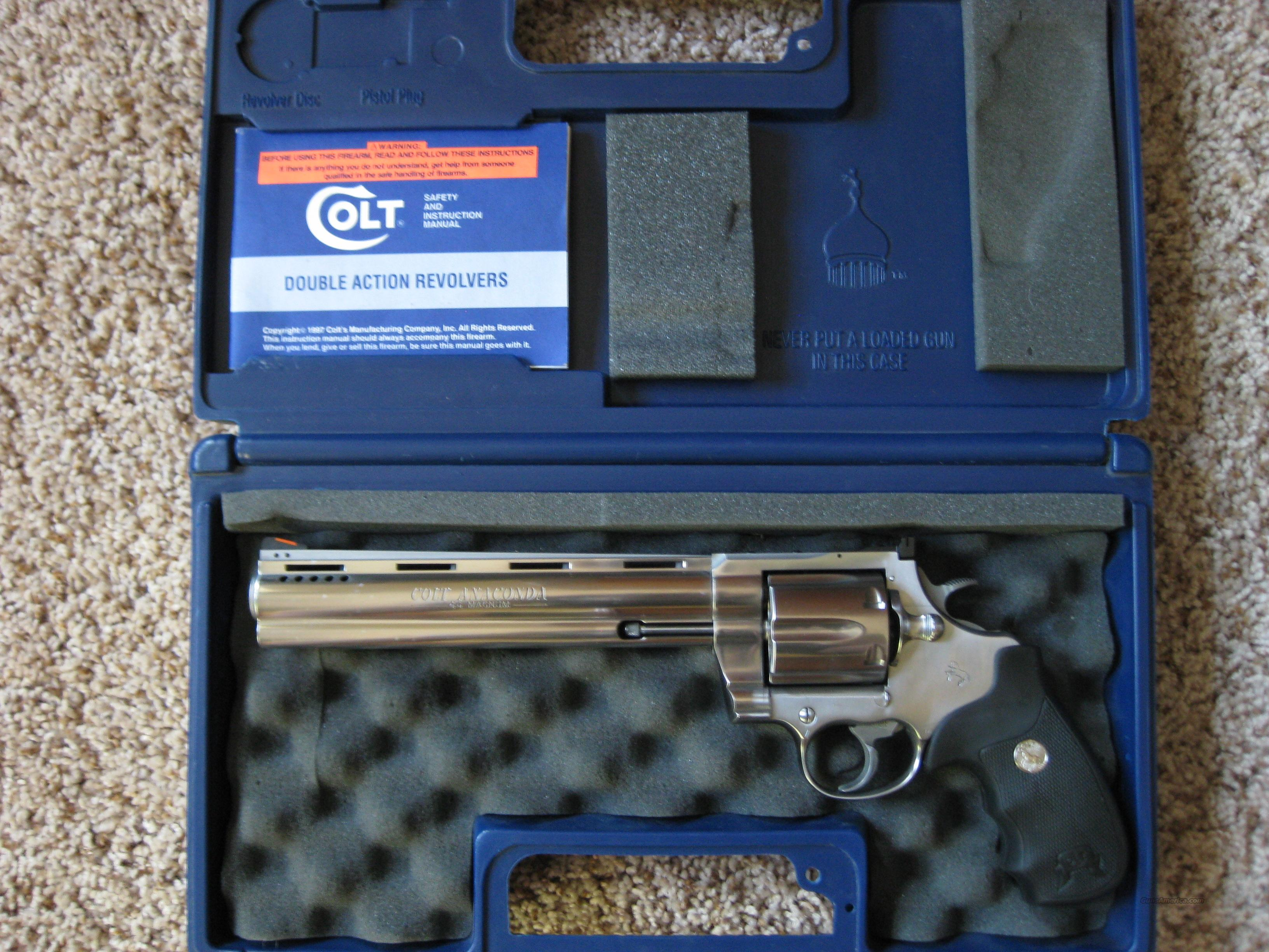 Colt Anaconda 8 inch PDT (factory ported)  Guns > Pistols > Colt Double Action Revolvers- Modern