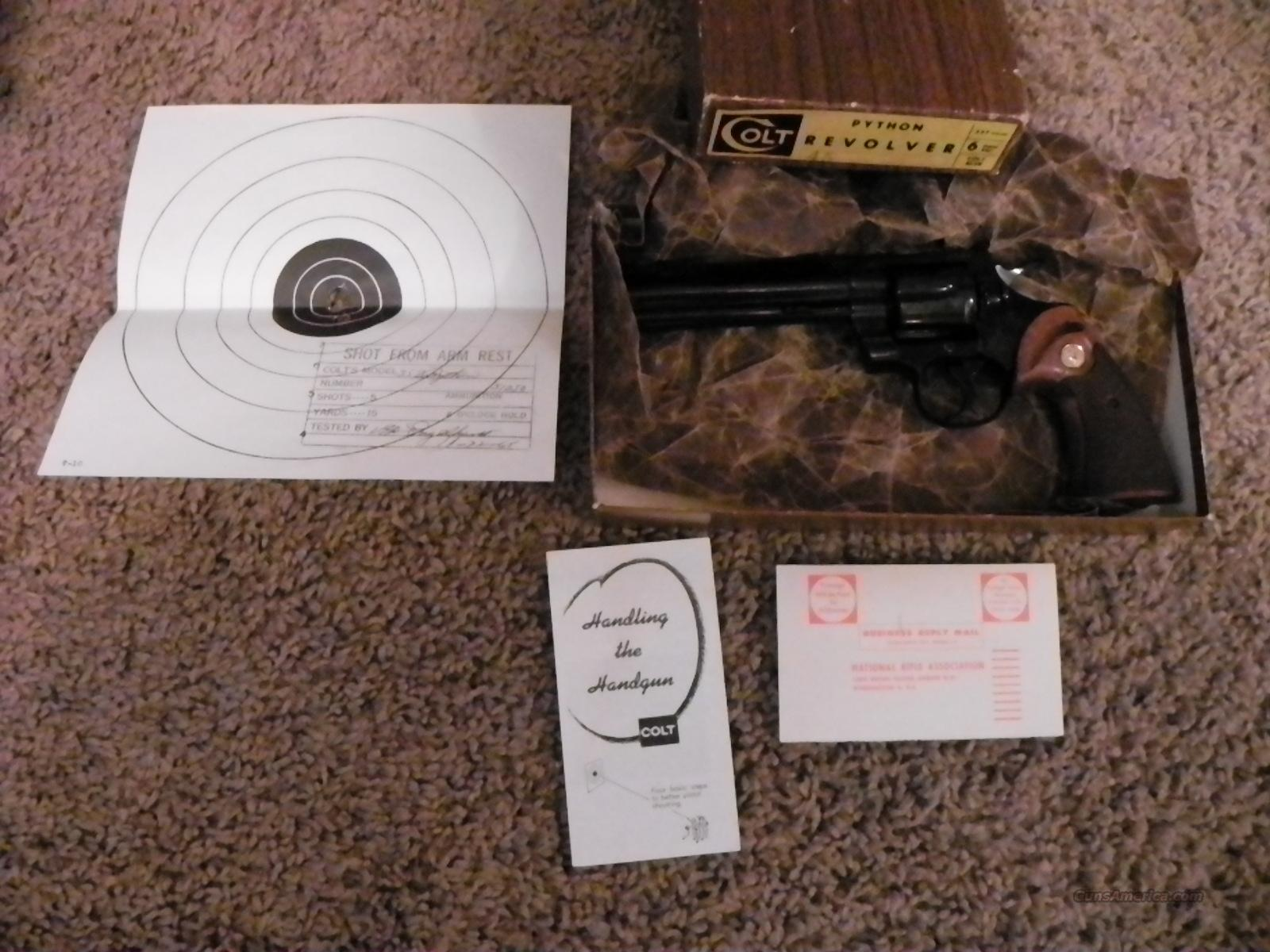 Colt Python 1965 with box and papers  Guns > Pistols > Colt Double Action Revolvers- Modern