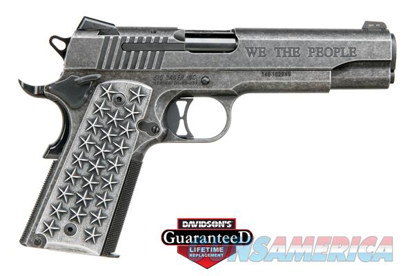 """SIG SAUER 1911 """"WE THE PEOPLE"""" - PISTOL - We The People Engraving - Custom Aluminum Grips with 25 Stars Engraved on Each Side - Low Profile Night Sights. - 45 ACP -   Guns > Pistols > Sig - Sauer/Sigarms Pistols > 1911"""