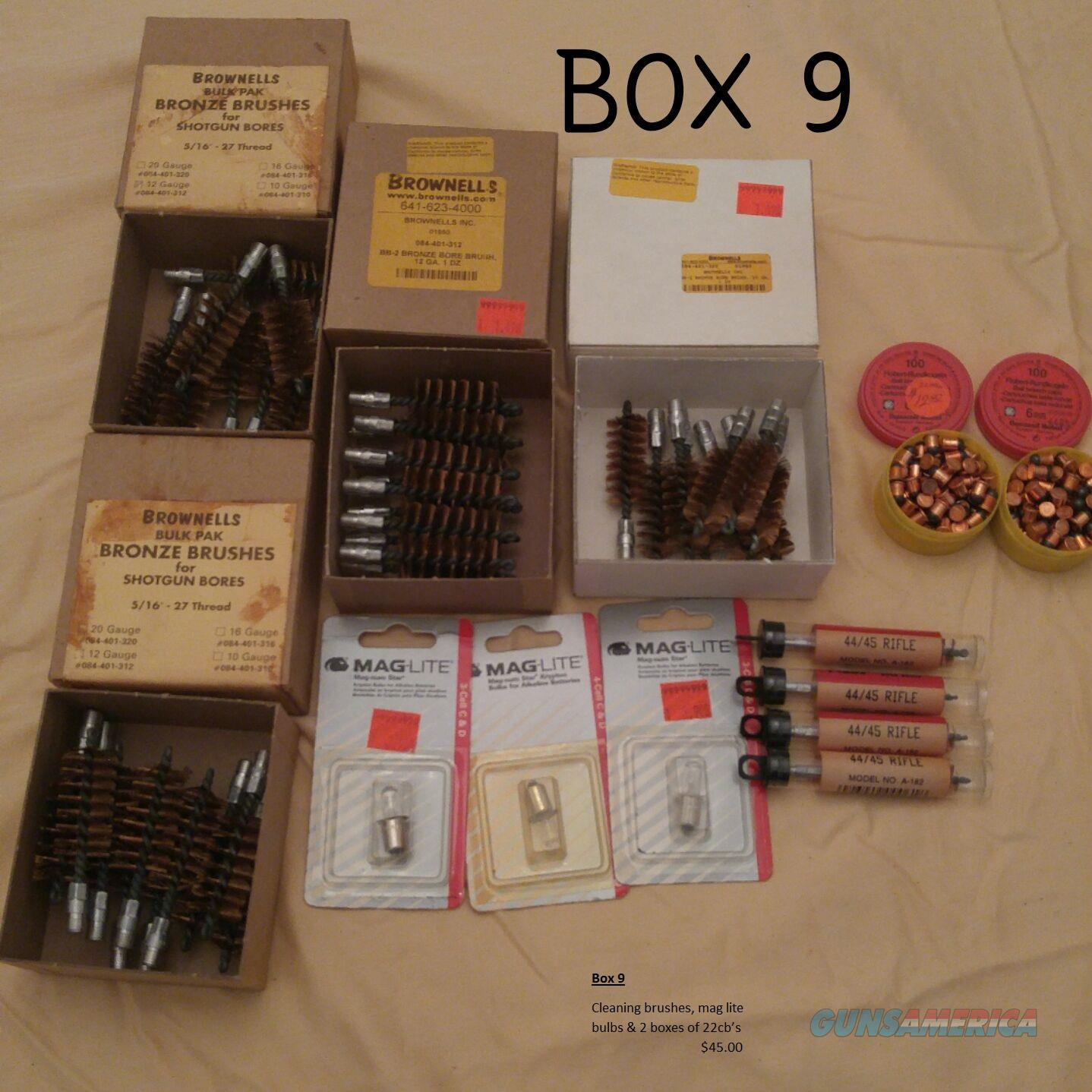 Box 9 Cleaning brushes, mag lite bulbs & 2 boxes of 22 cb's			  Non-Guns > Ammunition