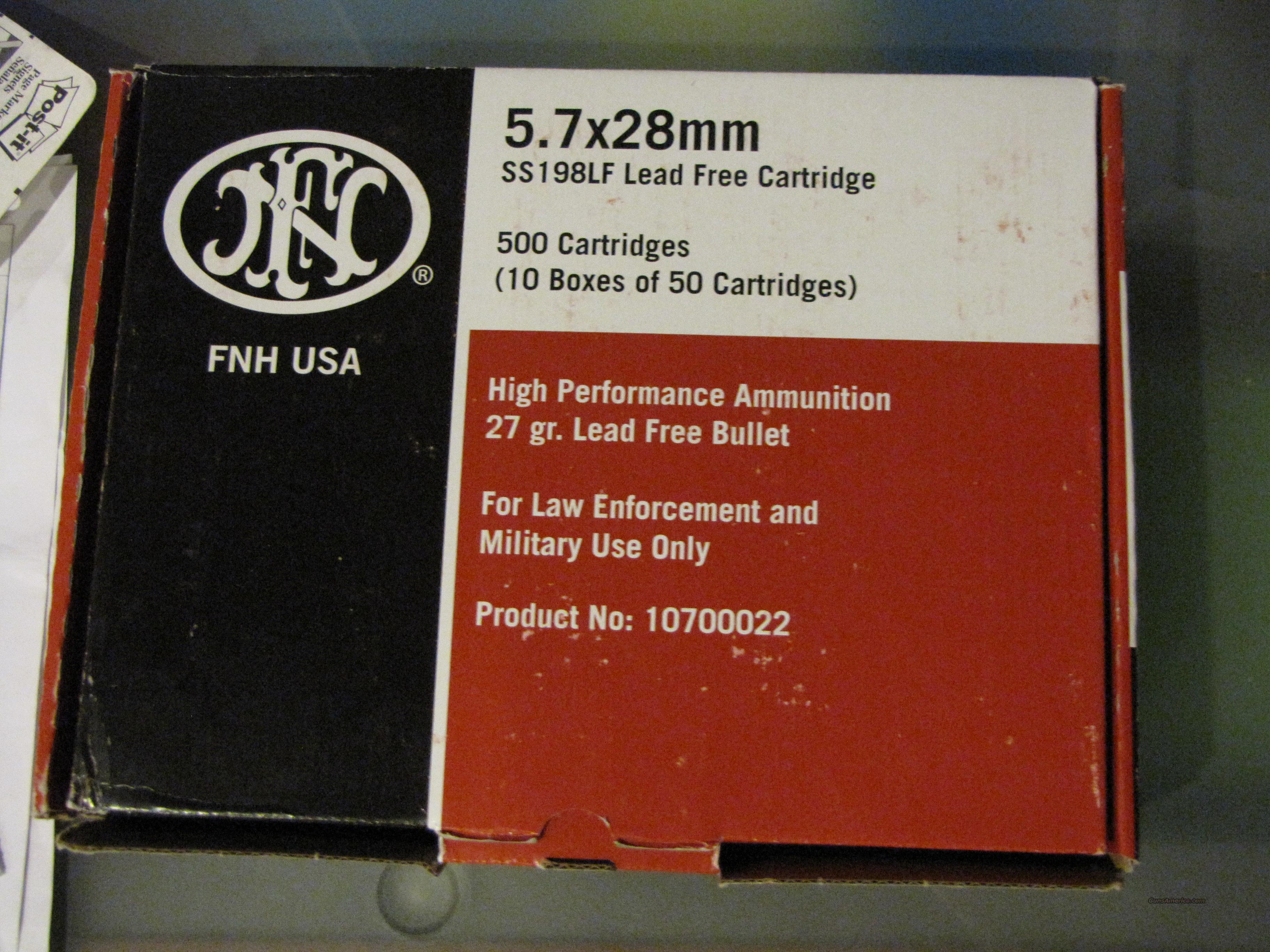FOR SALE 2013 - 1000 ROUNDS OF 5.7X28mm Ammo SS198 LE. THE BEST AMMO OUT THEIR FOR 5.7 GUNS!  Non-Guns > Ammunition