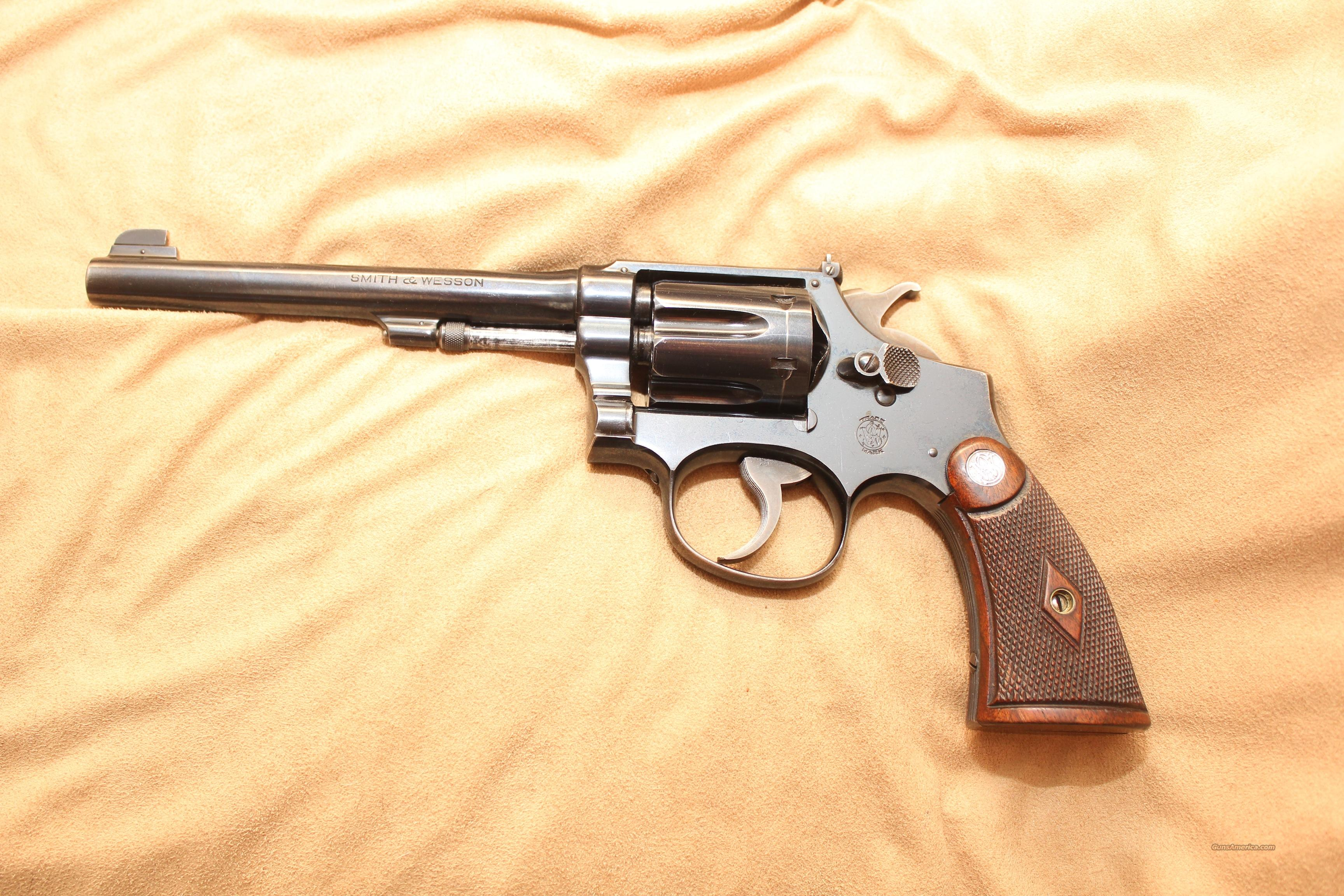 Excellent S&W .22 Outdoorsman (new price)  Guns > Pistols > Smith & Wesson Revolvers > Pre-1945