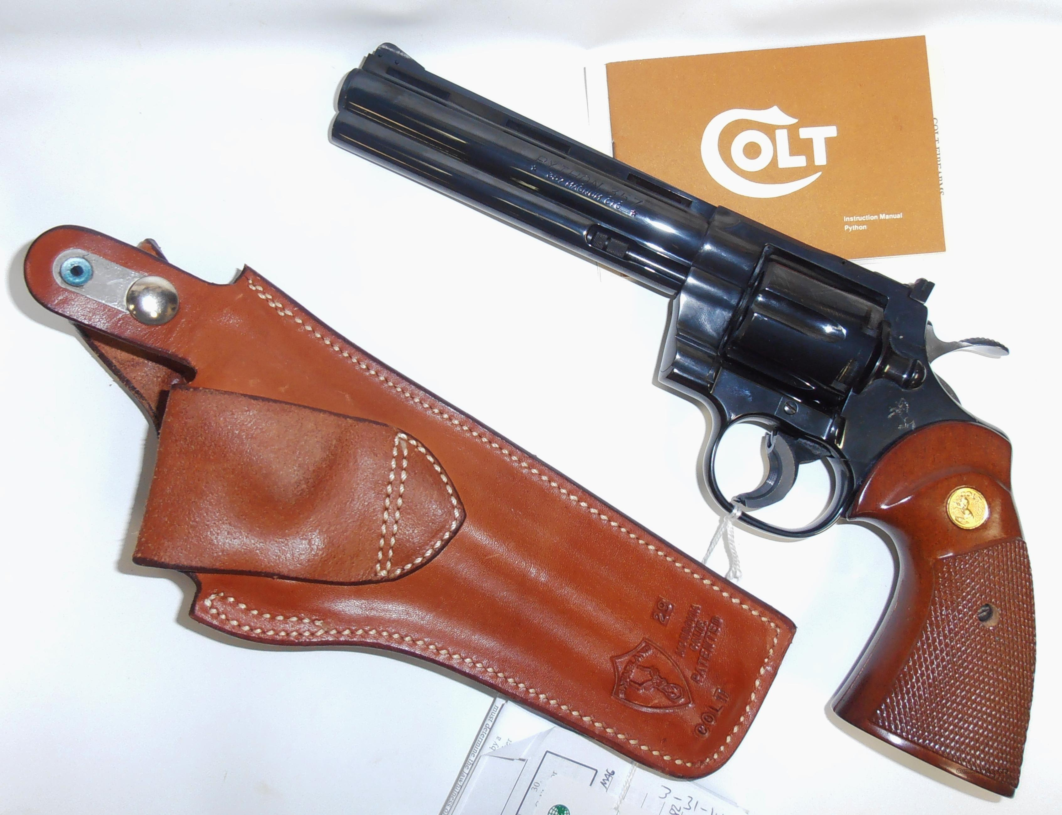"Colt PYTHON 357Magnum Almost New Condition 6"" Blued with Safariland Leather Holster  Guns > Pistols > Colt Double Action Revolvers- Modern"