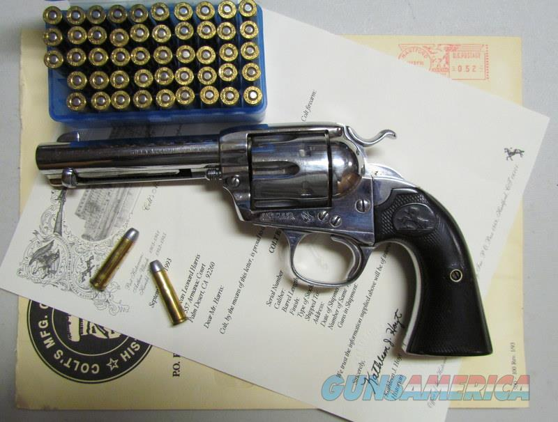 COLT BISLEY 32/20 1912 REVOLVER WITH COLT LETTER AND AMMO  Guns > Pistols > Colt Single Action Revolvers - 1st Gen.