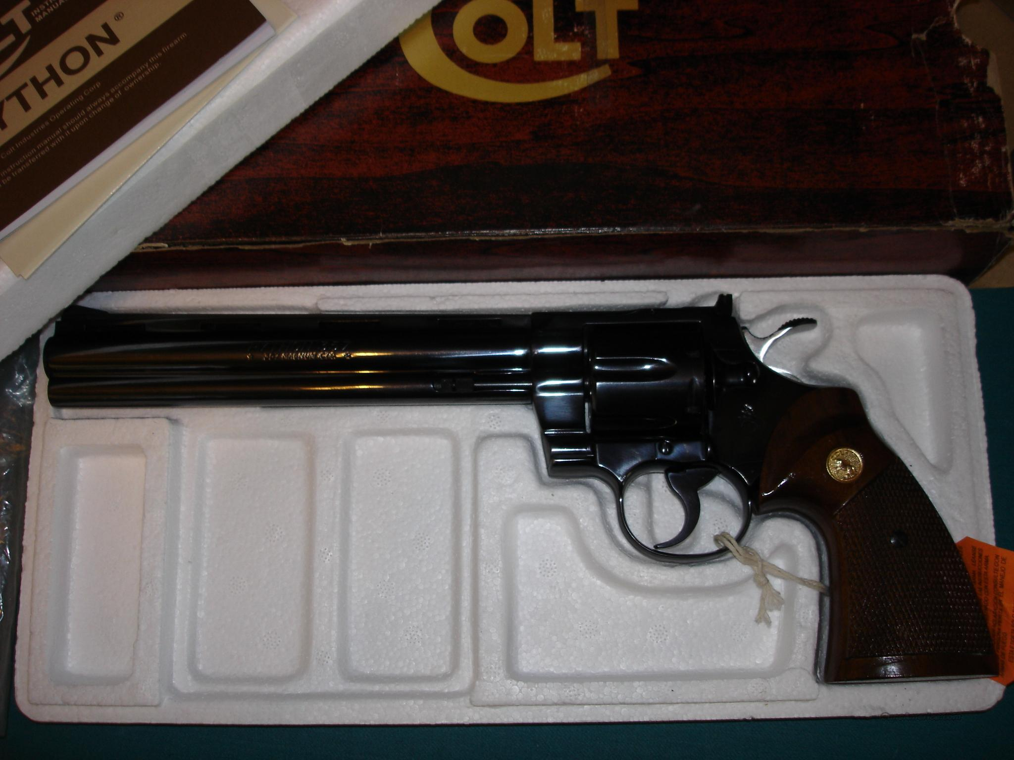 "Colt Python 8"" Royal Blue 1981  Guns > Pistols > Colt Double Action Revolvers- Modern"