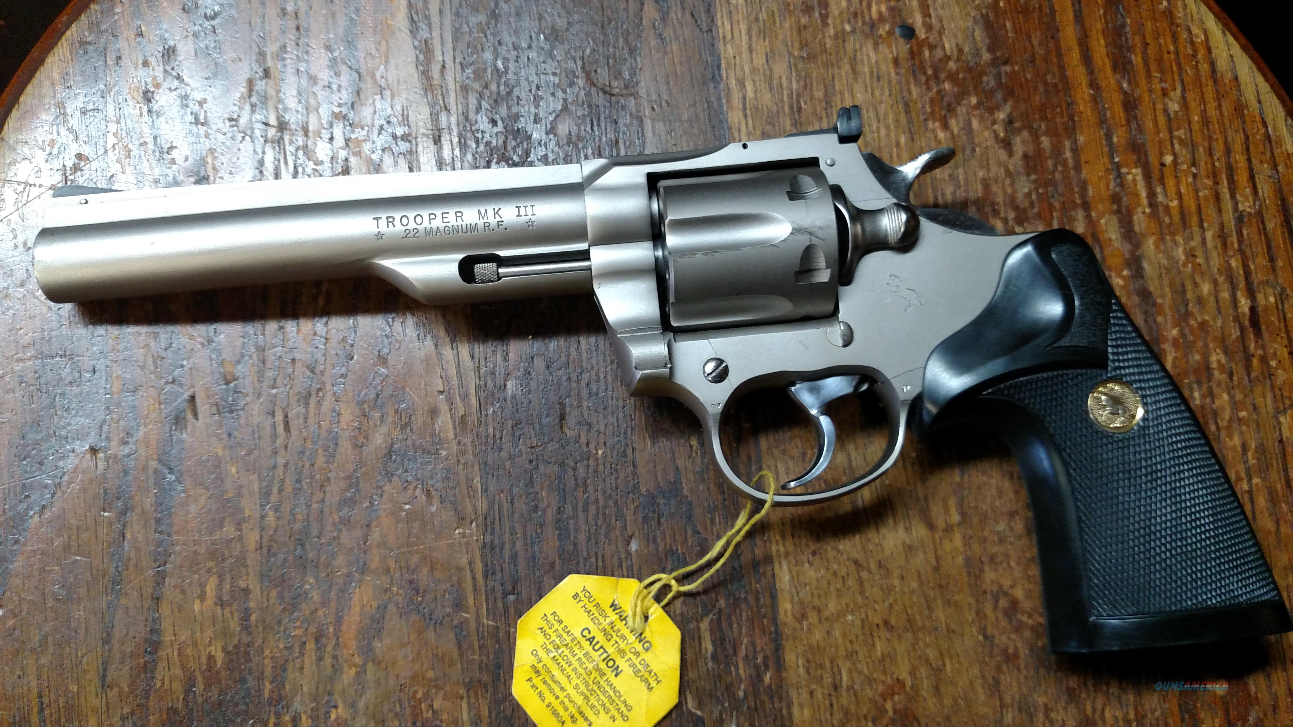 Very Nice Colt Trooper .22 Magnum 6 inch Nickel  Guns > Pistols > Colt Double Action Revolvers- Modern