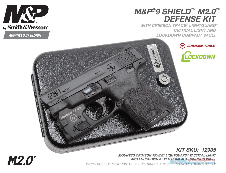 "Smith & Wesson 12935 M&P 9 Shield M2.0 Defense Kit Crimson Trace Lightguard & Vault ""NO CC FEE""  Guns > Pistols > Smith & Wesson Pistols - Autos > Shield"